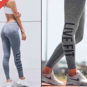 51a4f05caef9f Gym Shark Pants   New Live Fit Gray Squat Proof Booty Legging Med ...